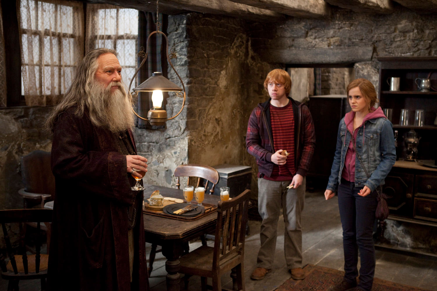 Aberforth Dumbledore with Ron and Hermione