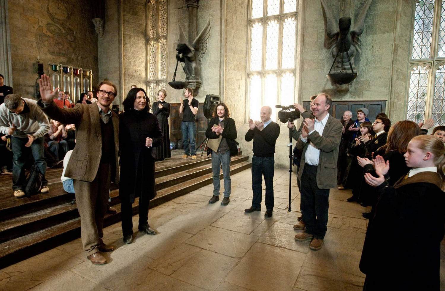 Alan Rickman and David Thewlis on set