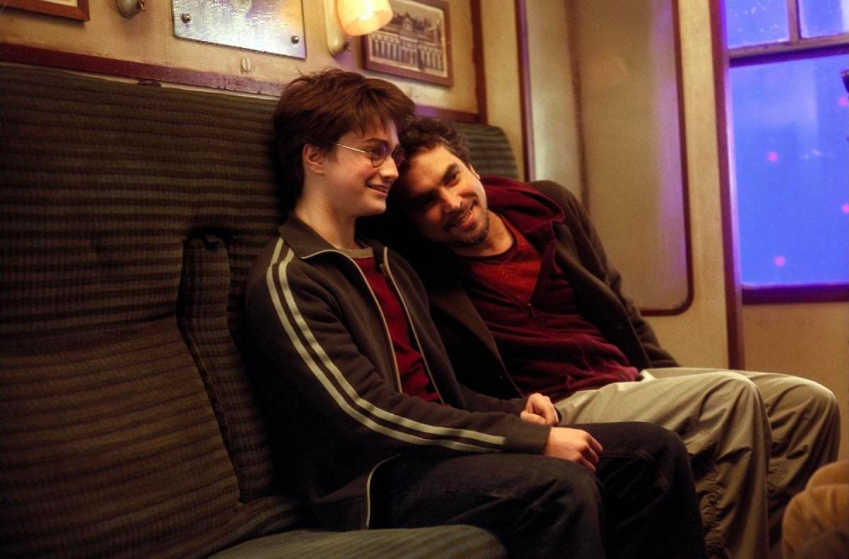 Alfonso Cuarón and Dan Radcliffe on the Hogwarts Express