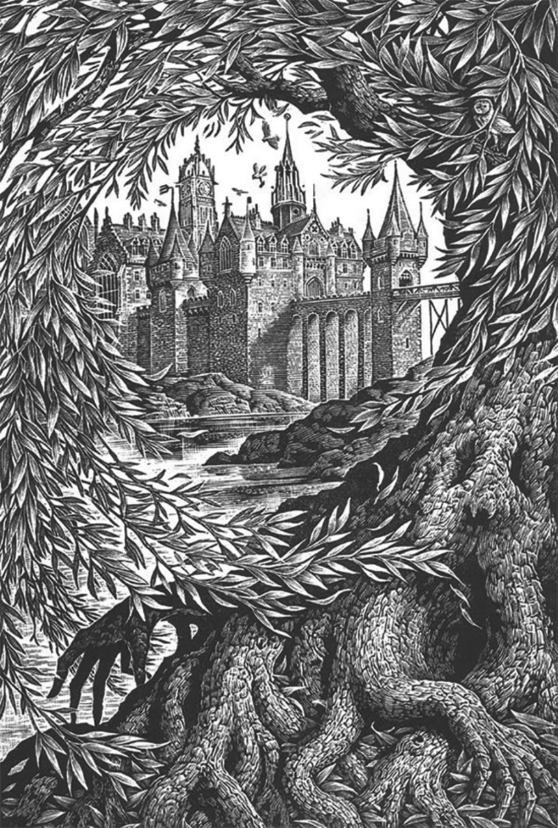 Andrew Davidson's 'Chamber of Secrets' wood engraving