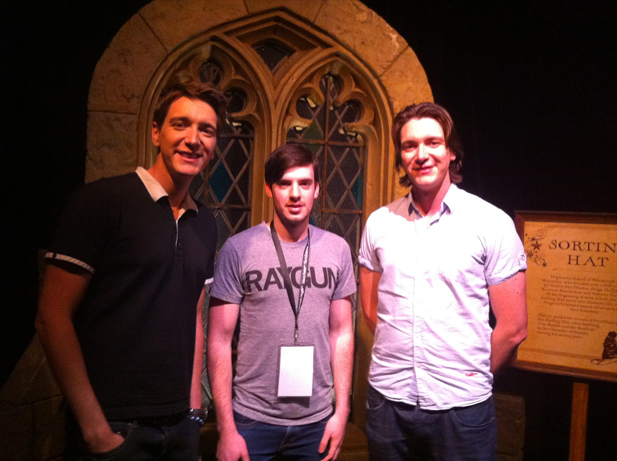 Andy McCray meets James and Oliver Phelps at the Harry Potter exhibition launch in Sydney.