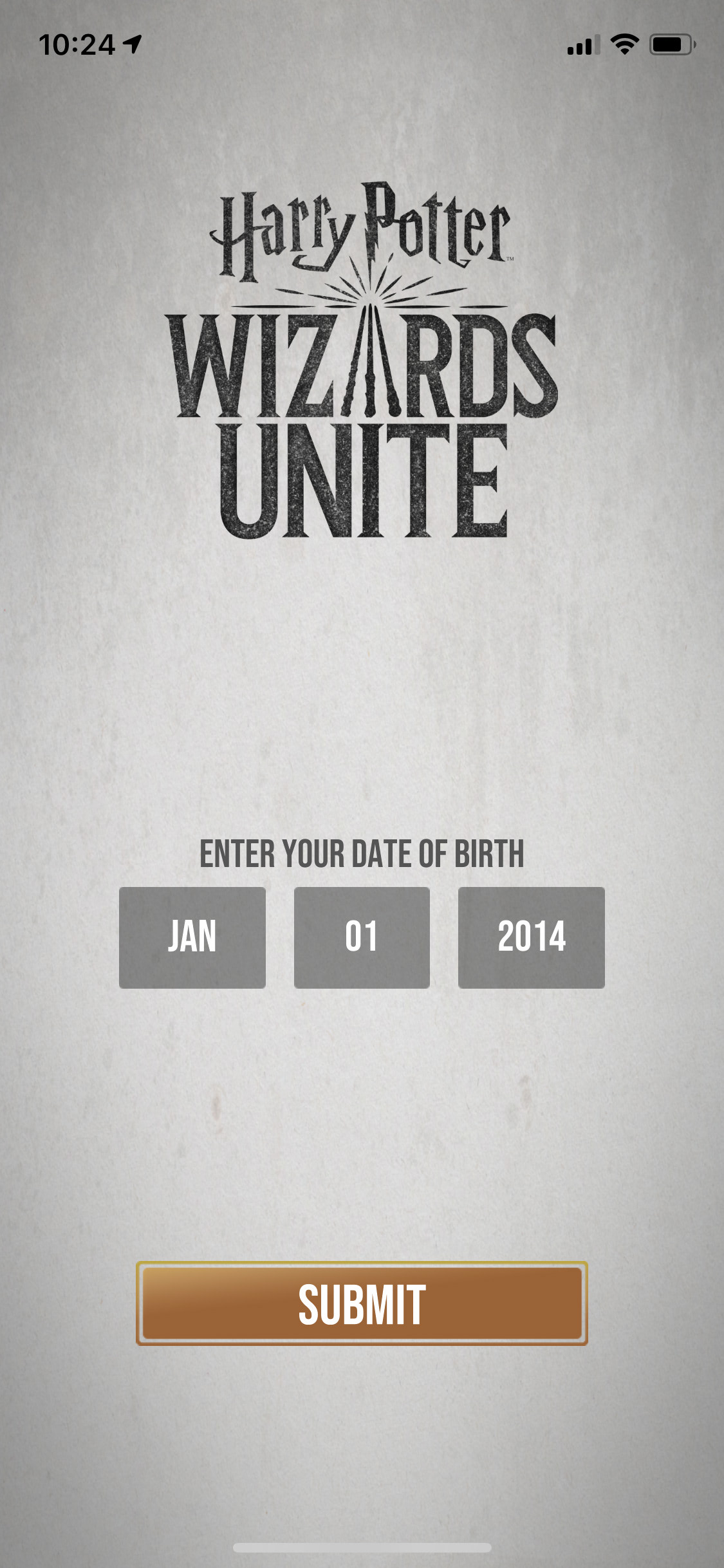 Enter date of birth (Wizards Unite)