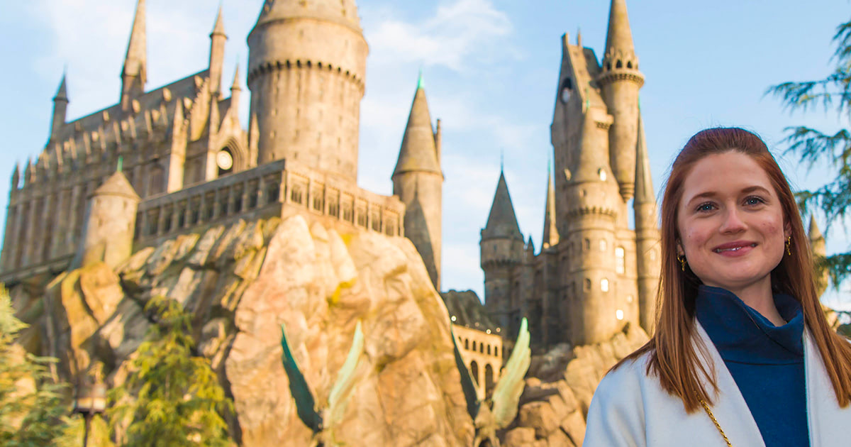 Bonnie Wright (Ginny Weasley) visits the 'Harry Potter' theme park in Hollywood