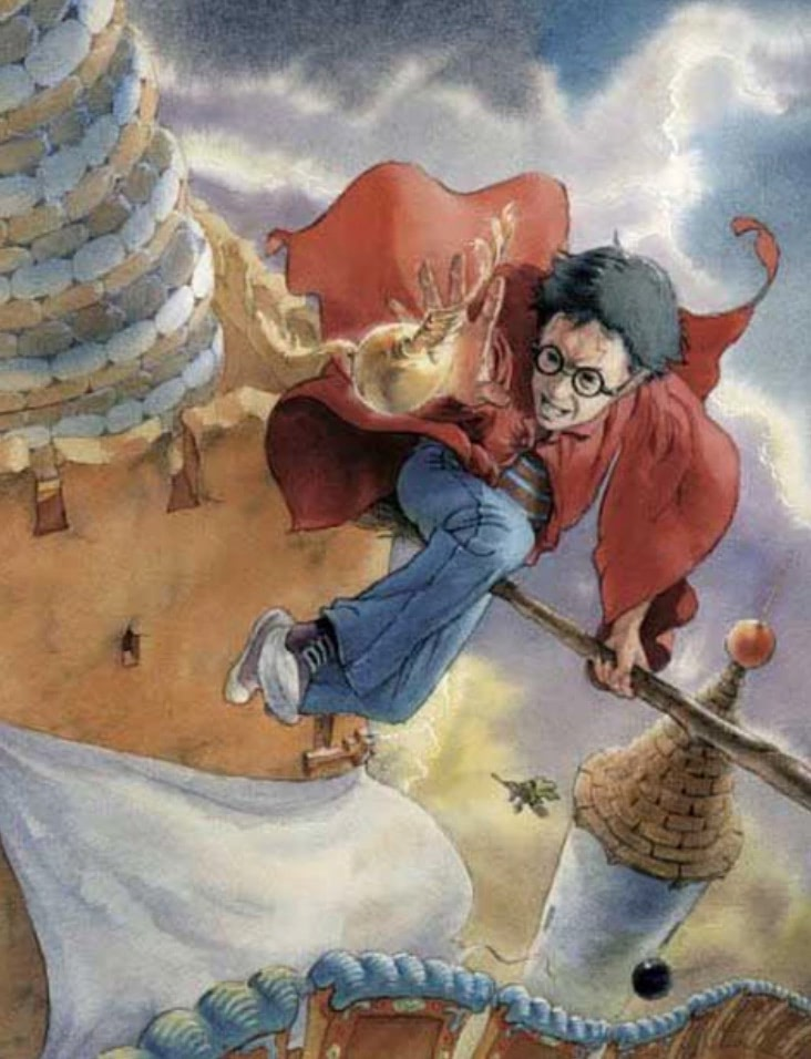 Catching the Snitch (Cliff Wright illustration)