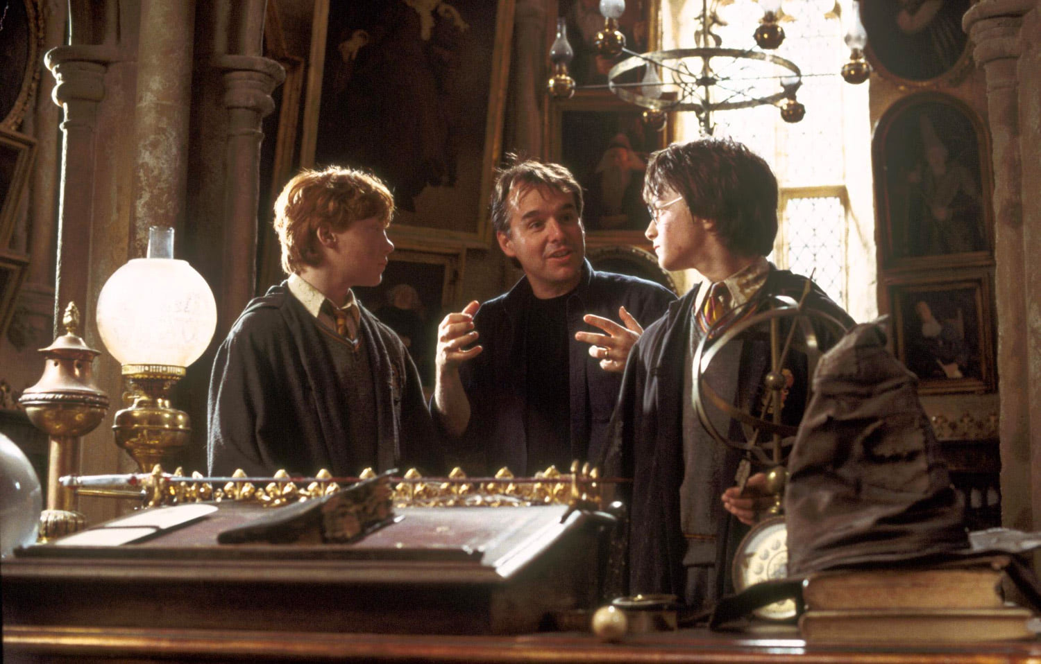 Chris Columbus directs Rupert Grint and Dan Radcliffe