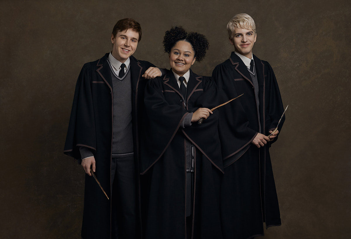 Sean Rees-Wemyss (Albus), Manali Datar (Rose Granger-Weasley) and William McKenna (Scorpius)