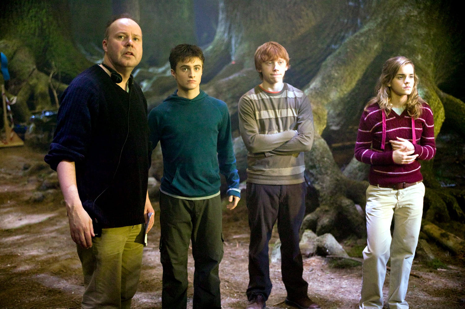 David Yates and the trio in the Forbidden Forest