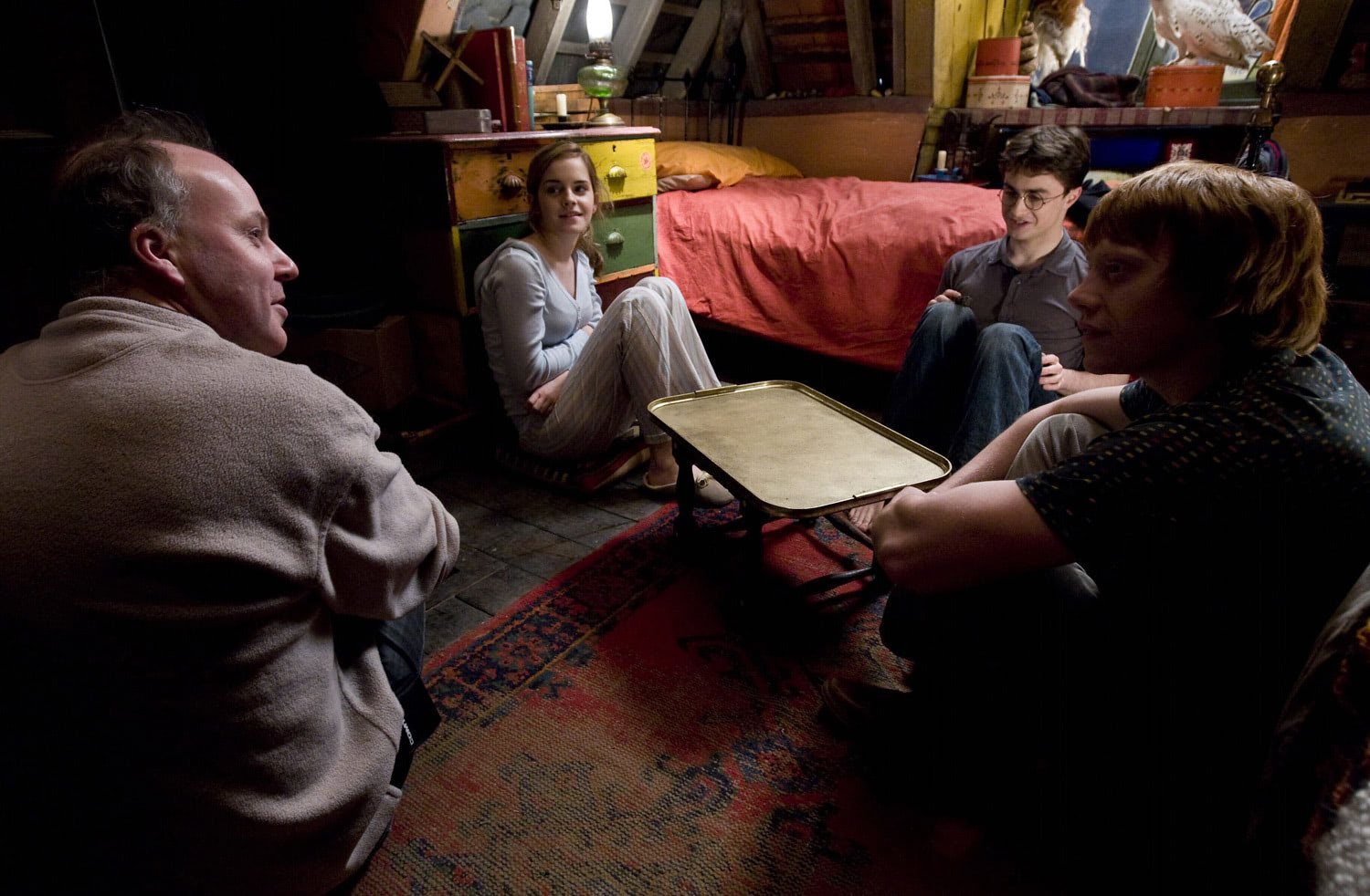 David Yates with Emma, Dan and Rupert at The Burrow