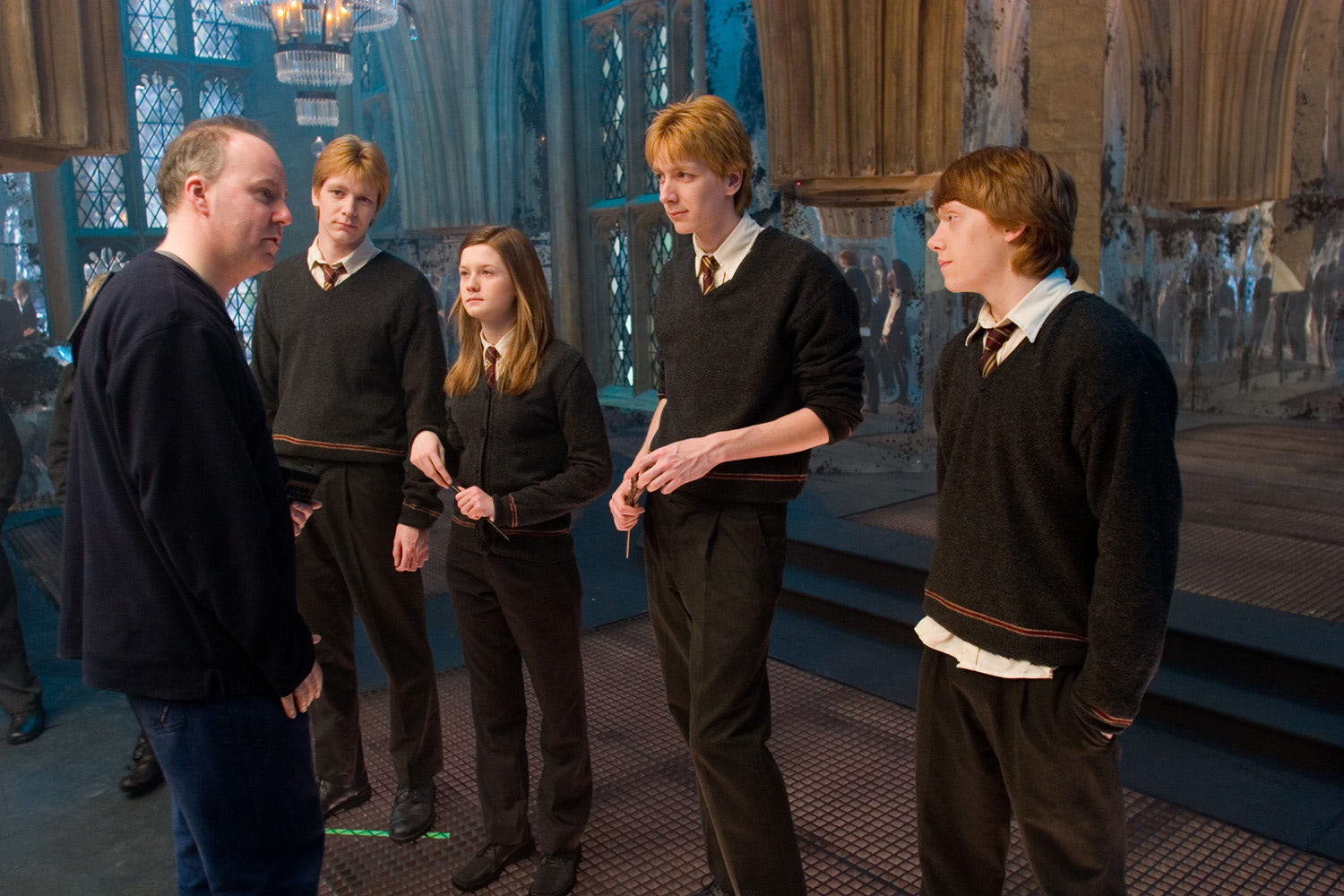 David Yates directing in the Room of Requirement