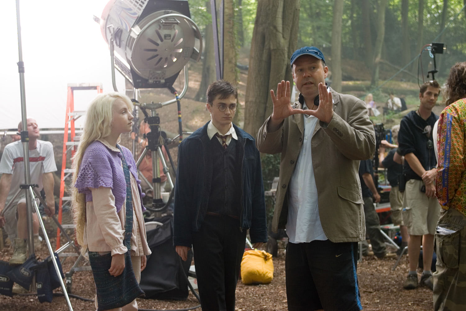 David Yates directs Evanna Lynch and Dan Radcliffe
