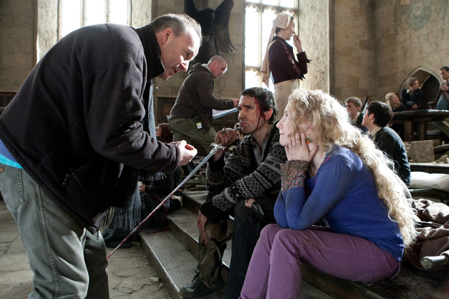 David Yates directing Matthew Lewis and Evanna Lynch