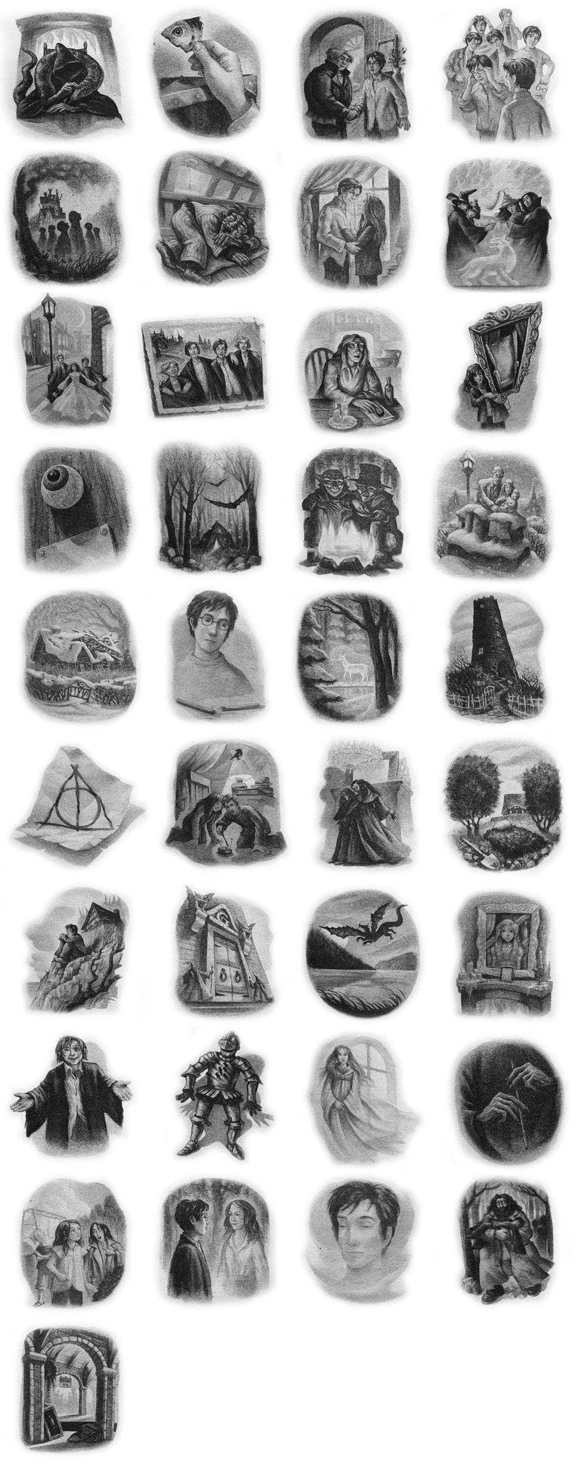 Every 'Deathly Hallows' chapter illustration.
