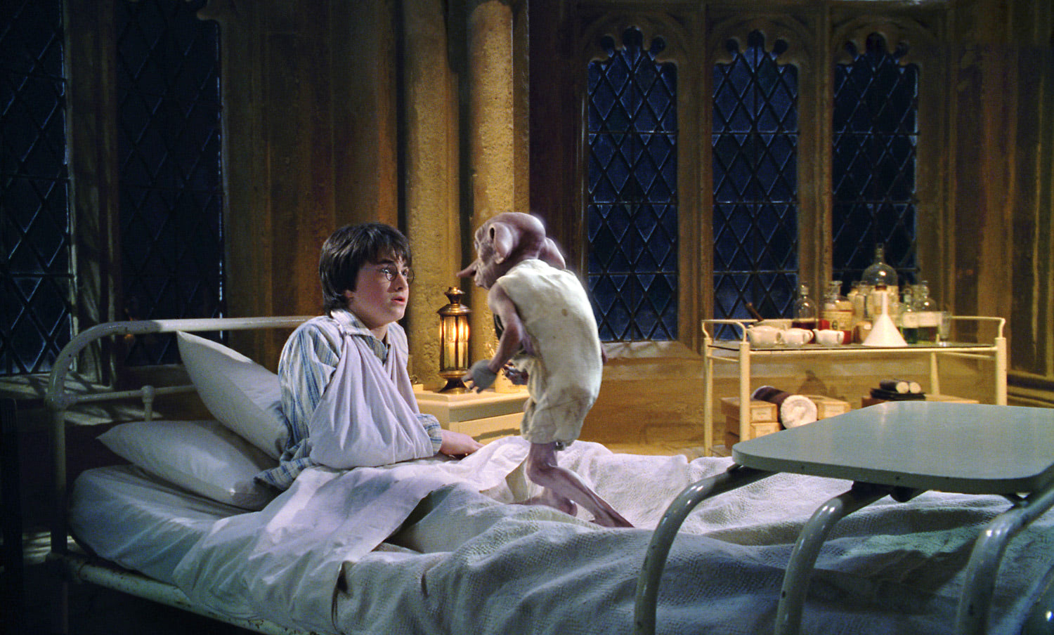 Dobby visits Harry in the Hospital Wing