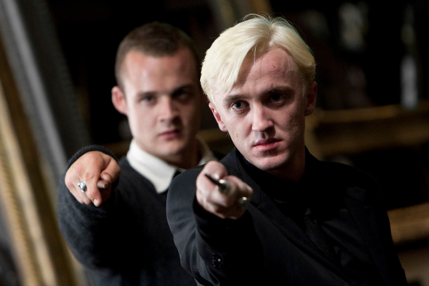 Draco and Goyle with wands ready