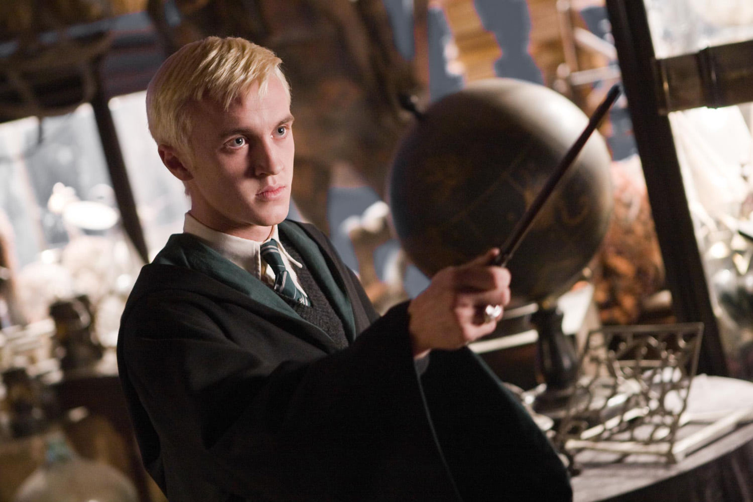 Draco with wand at the ready