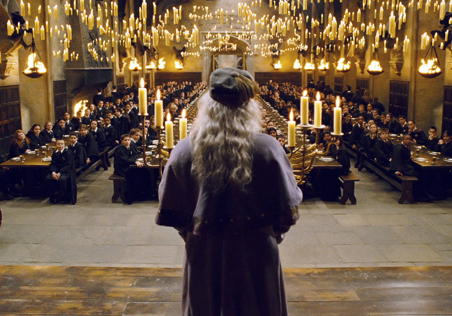 Dumbledore addresses students in the Great Hall
