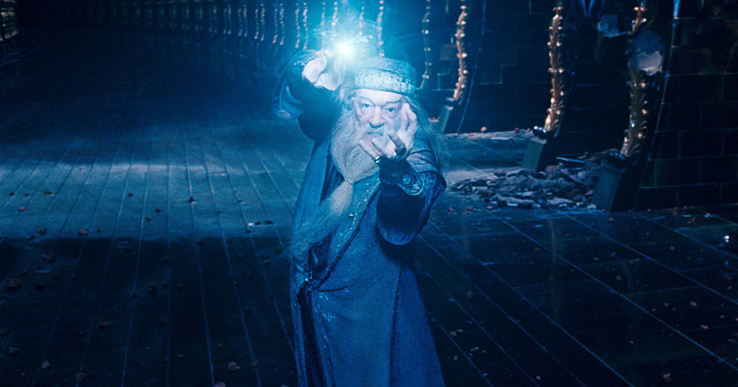 Dumbledore casts a spell in the Ministry