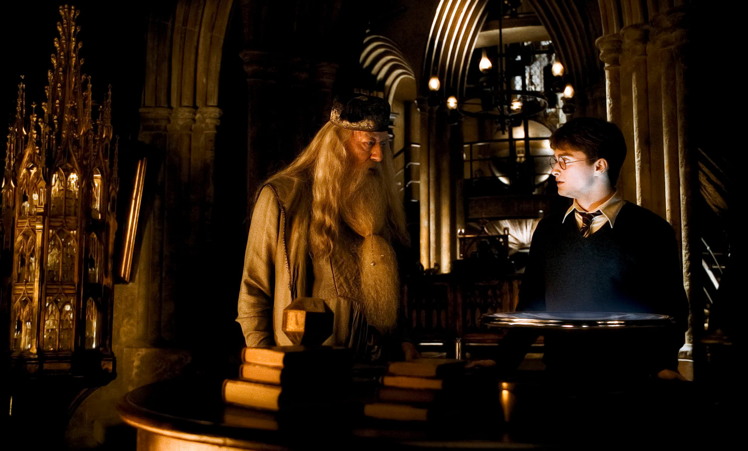 Dumbledore and Harry at the Pensieve