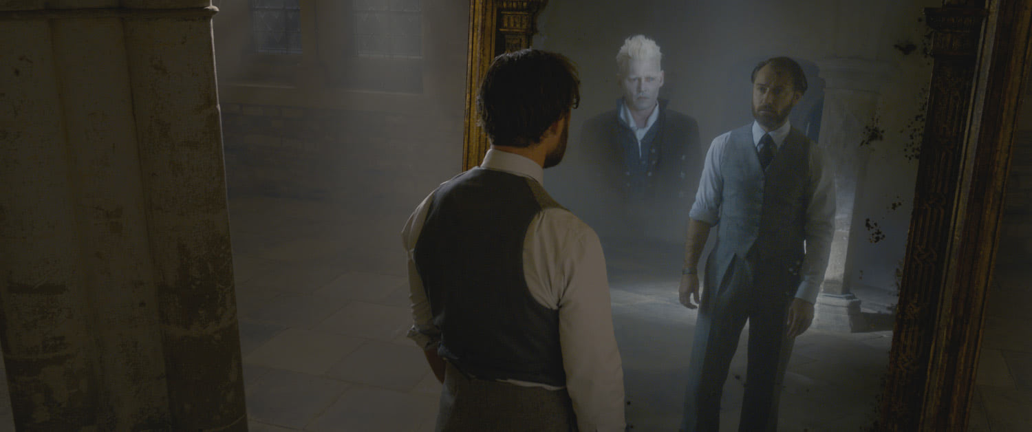 Dumbledore looks into the Mirror of Erised