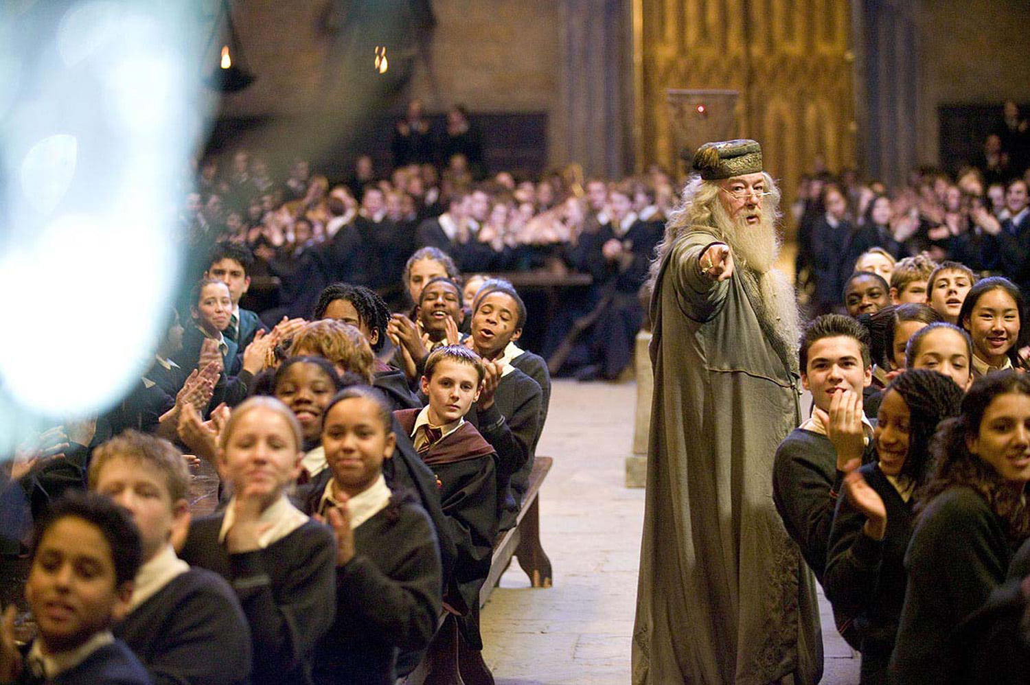 Dumbledore pointing in the Great Hall