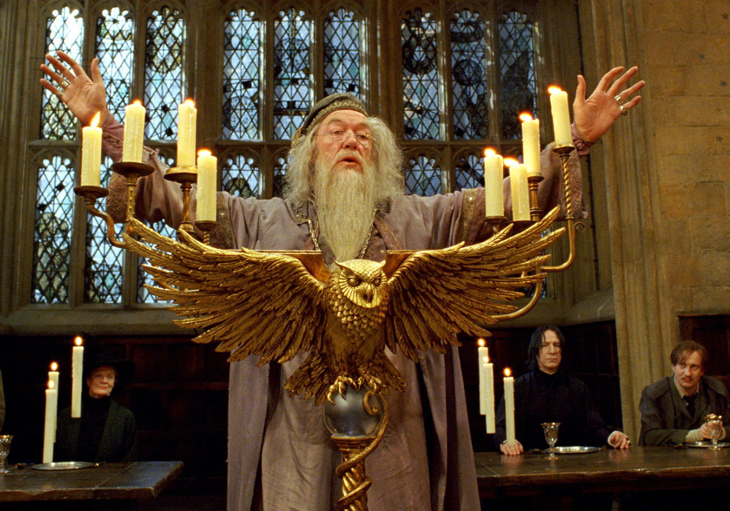 Dumbledore with hands raised