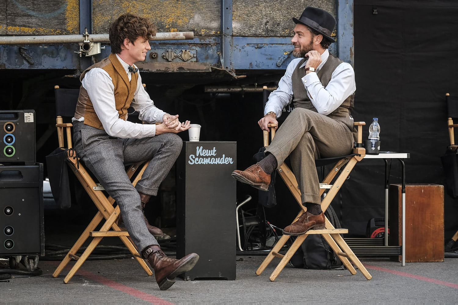 Eddie Redmayne and Jude Law on set