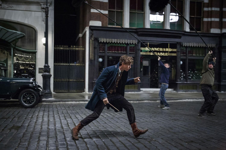 Eddie Redmayne films a street scene