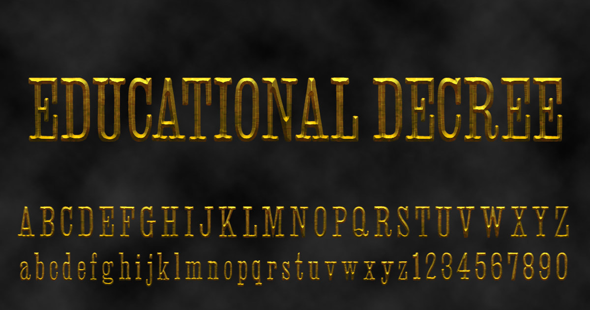 Download free 'Educational Decree' font