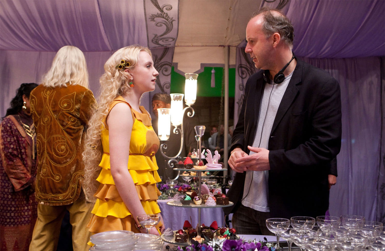 Evanna Lynch and David Yates