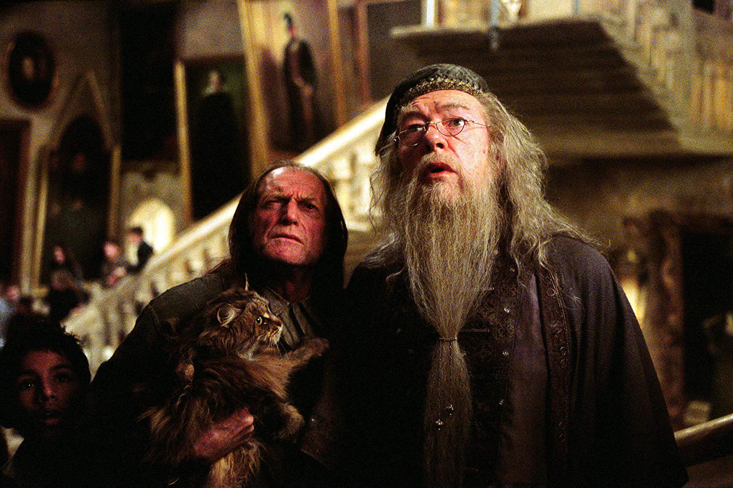 Filch and Dumbledore look for the Fat Lady