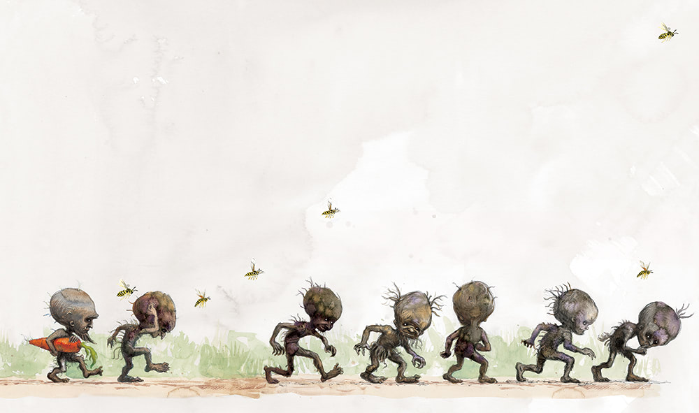 Gnomes run rampant in the Weasley garden