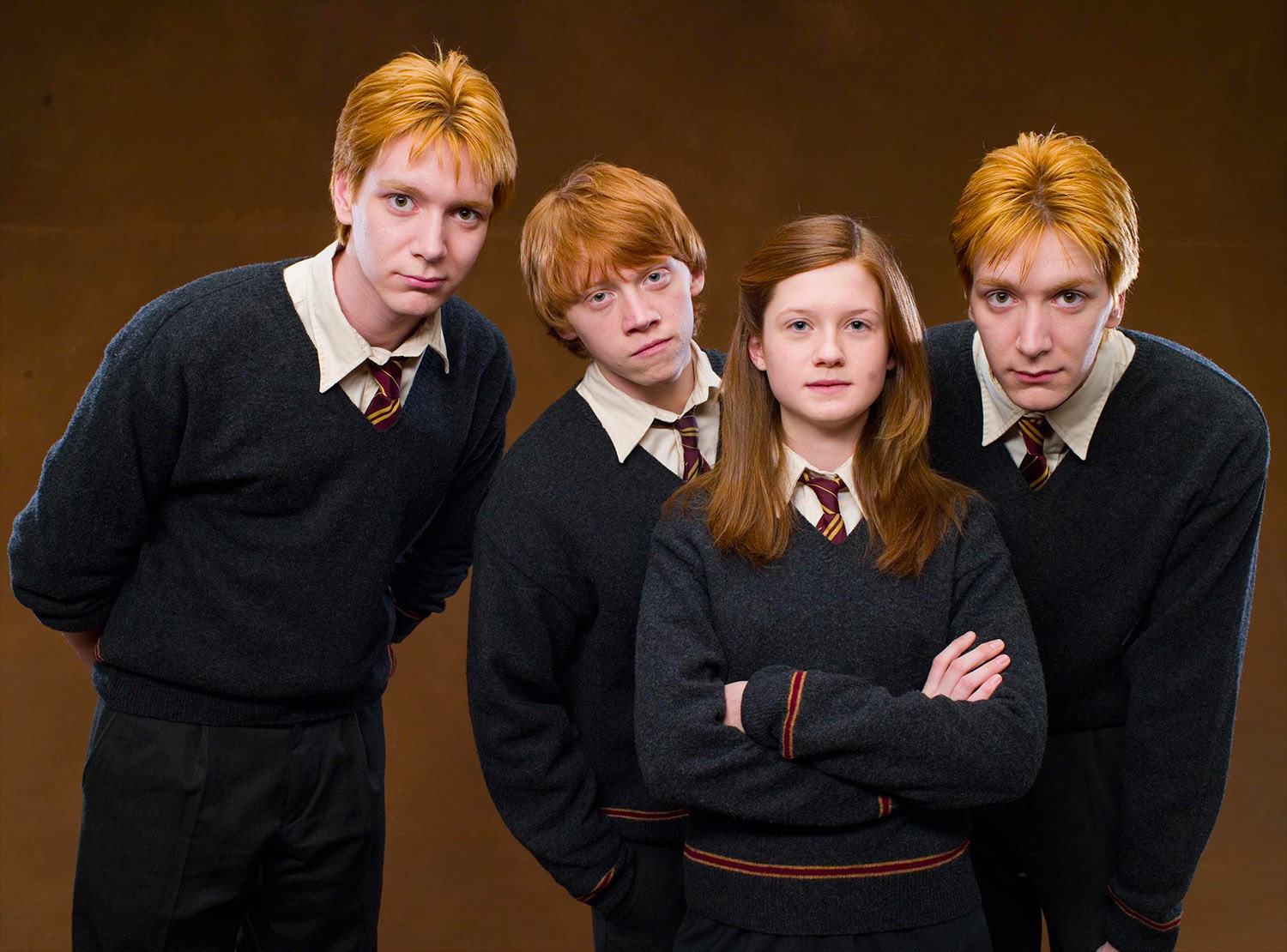 Portrait of Fred, Ron, Ginny and George Weasley