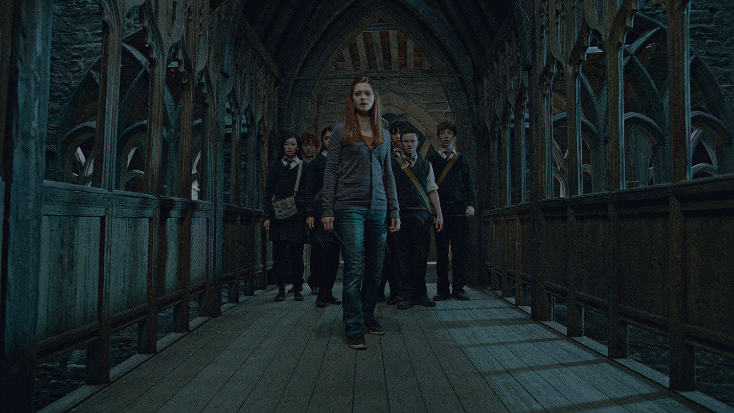 Ginny on the Hogwarts bridge