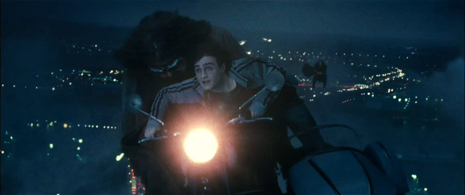 Hagrid and Harry in the sky