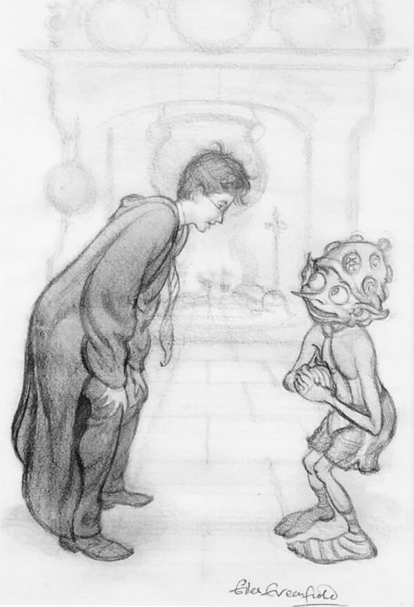 Harry and Dobby (Giles Greenfield illustration)
