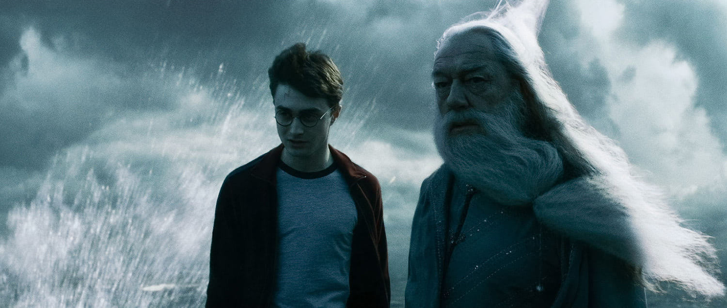 Harry and Dumbledore at the cave entrance