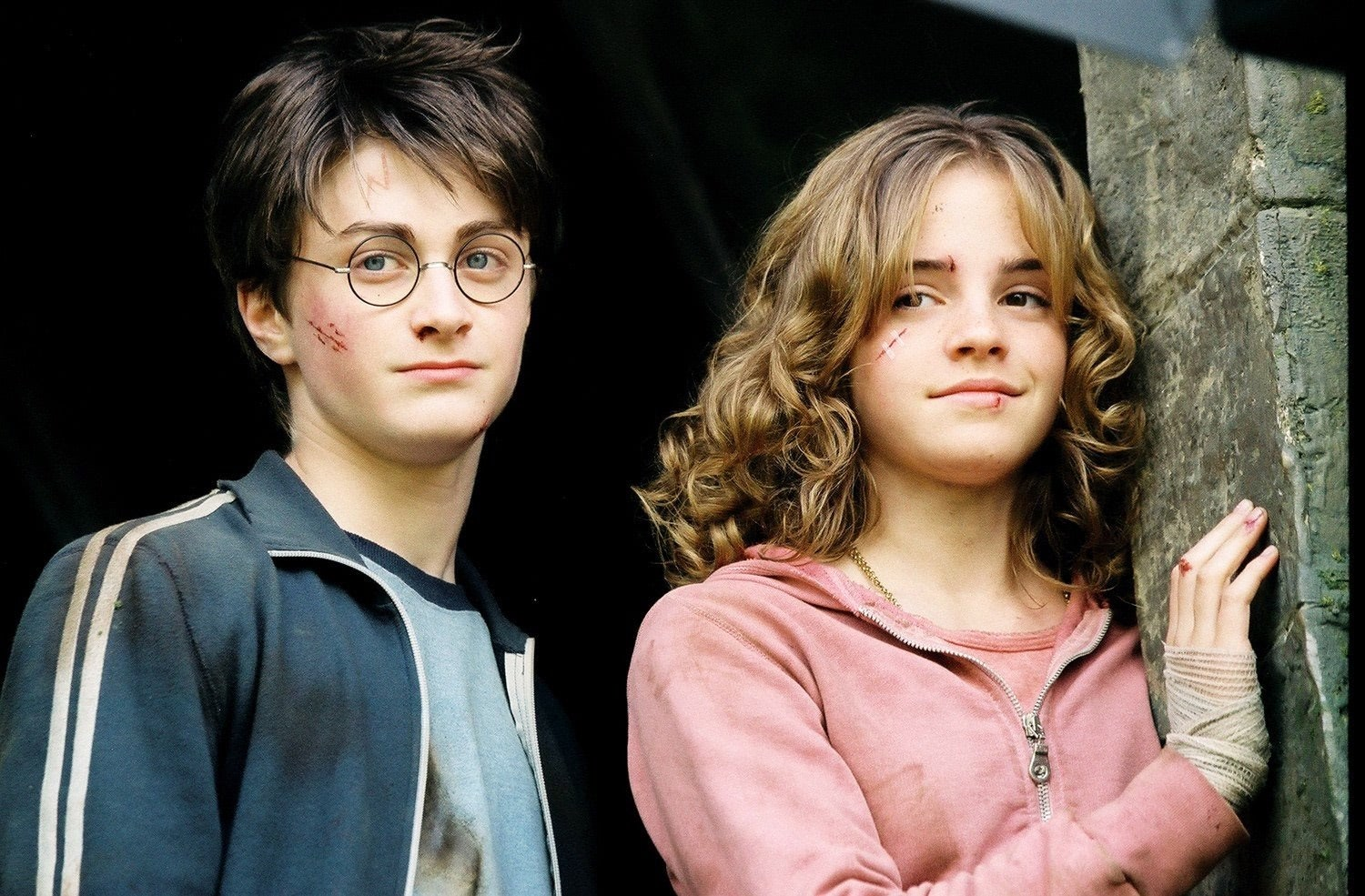 Harry and Hermione with cuts and bruises