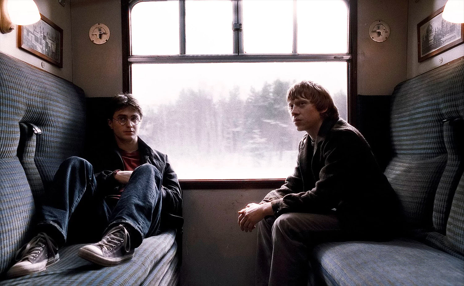 Harry and Ron on the Hogwarts Express
