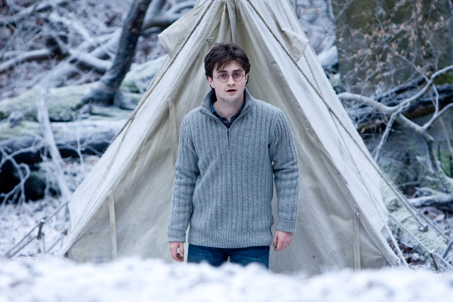 Harry camping in winter