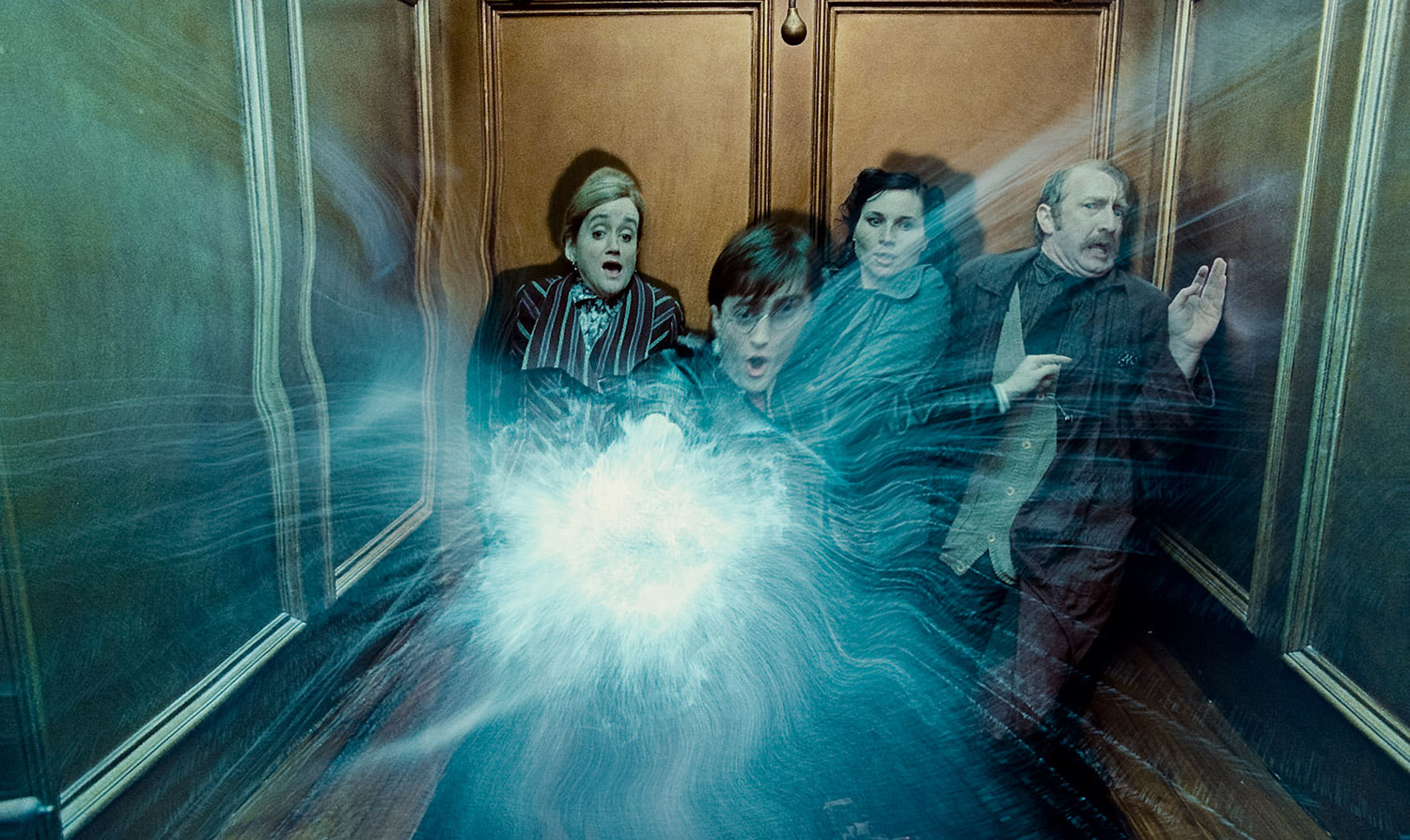 Harry casts a Patronus in the Ministry