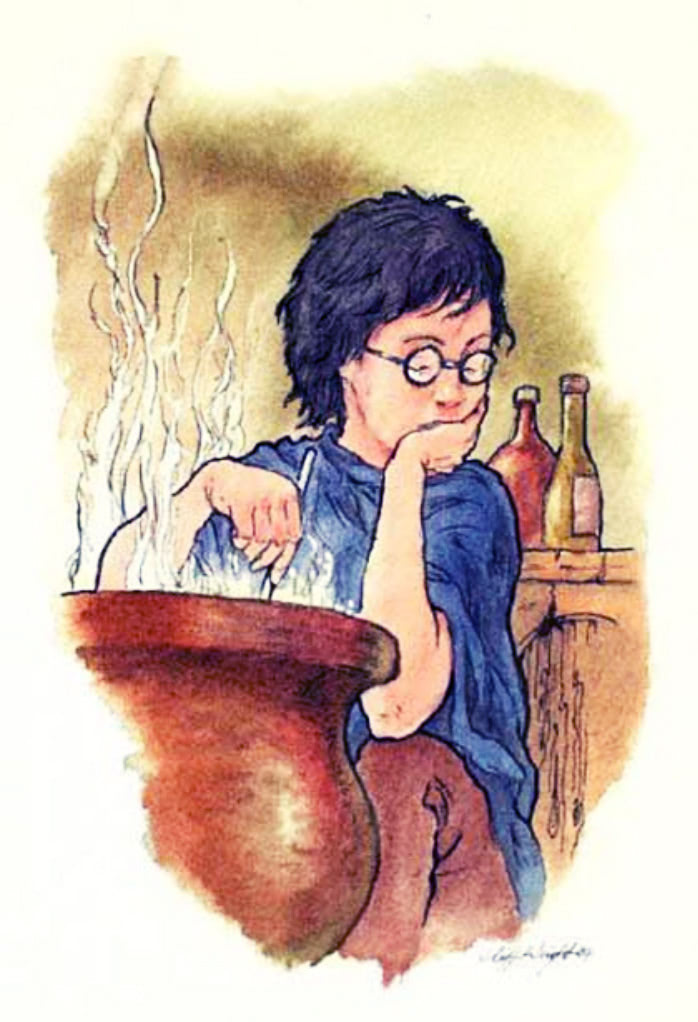 Harry's Potions lesson (Cliff Wright illustration)