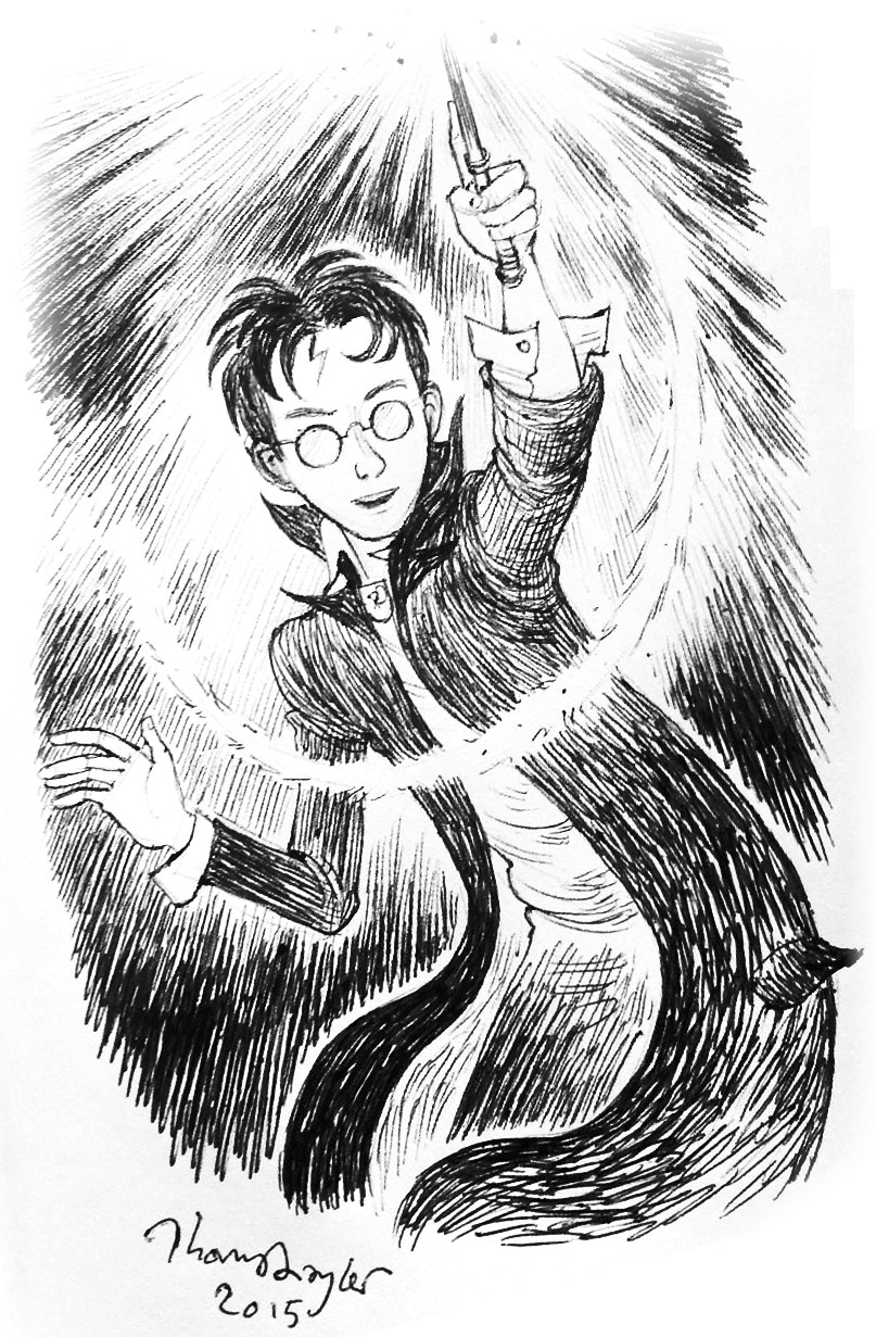 Harry casting a spell (Thomas Taylor illustration)