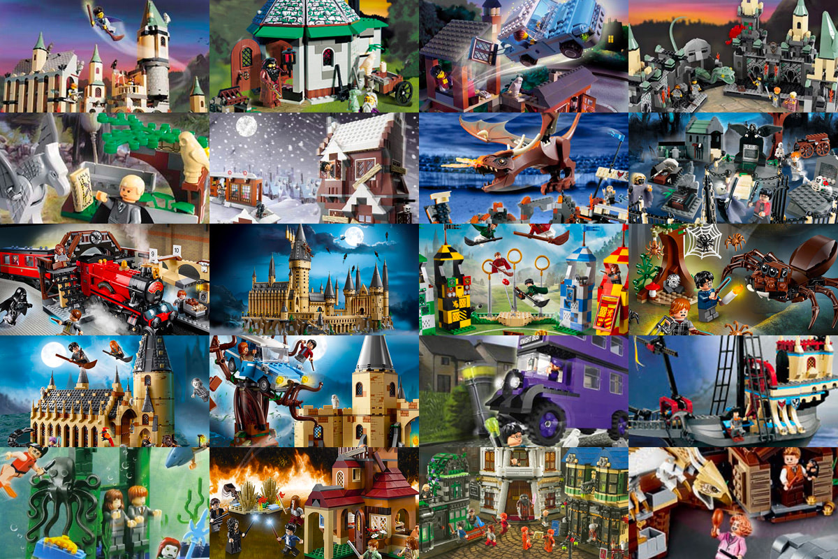A collage of 'Harry Potter' LEGO sets.