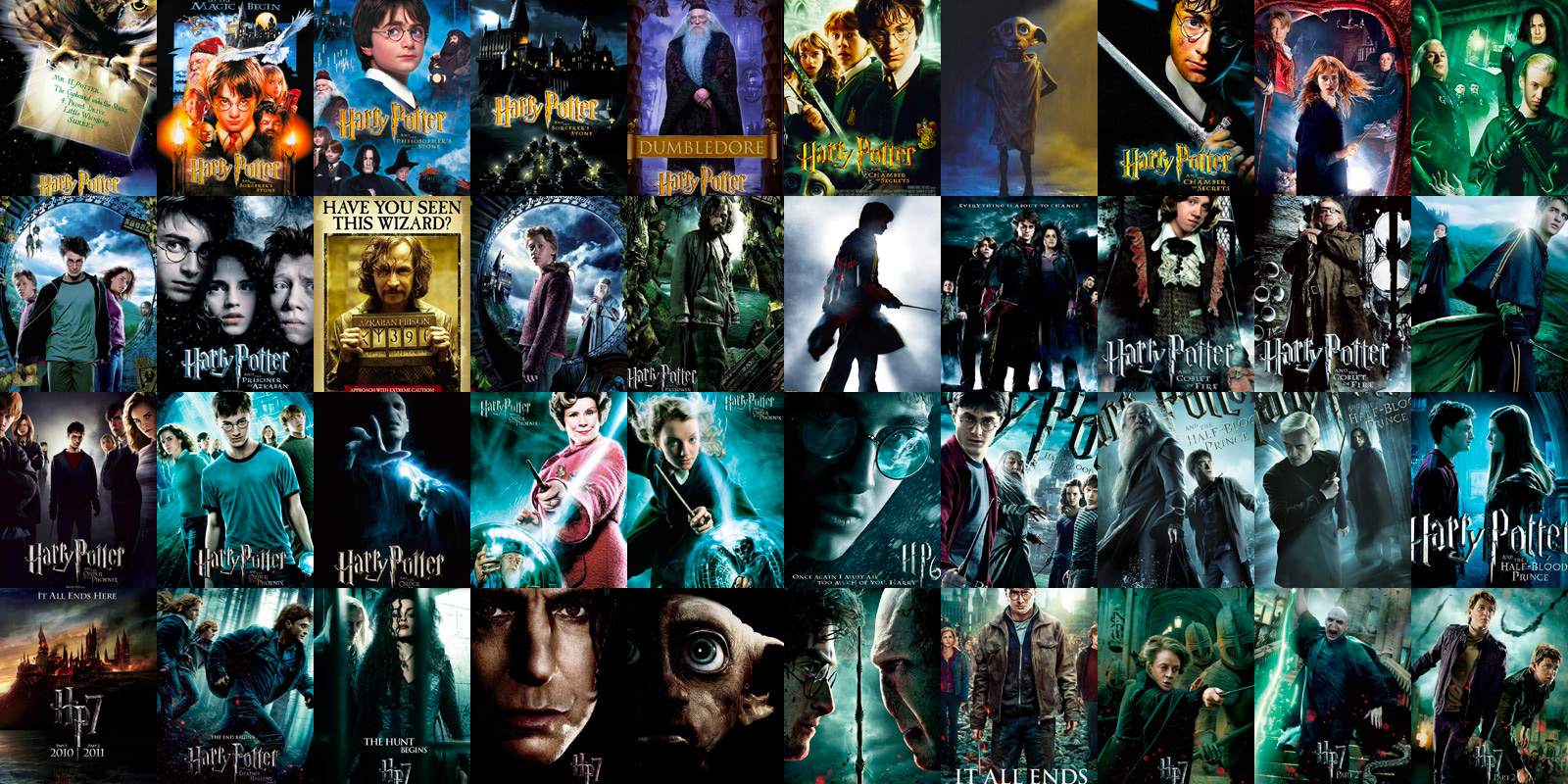A collage of 'Harry Potter' movie posters.