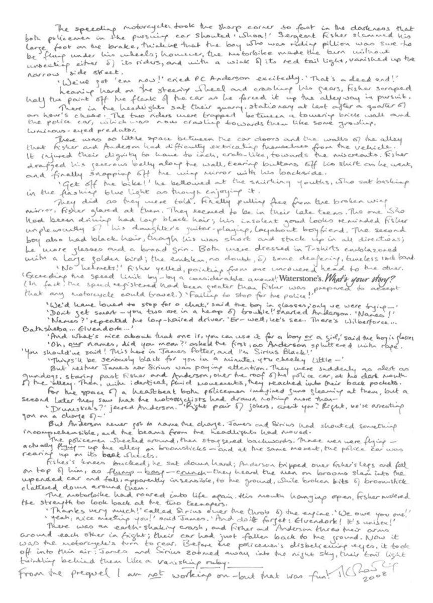J.K. Rowling's handwritten 'Harry Potter' prequel.