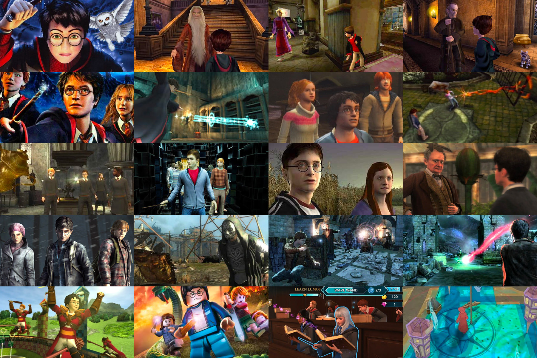 Collage of 'Harry Potter' video and mobile games