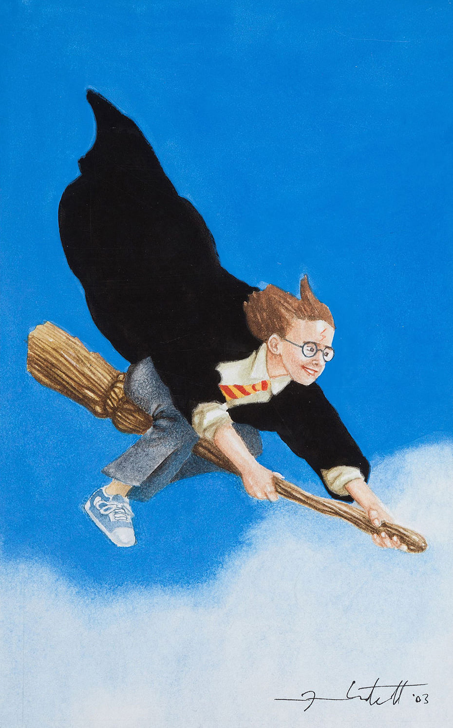 Harry riding his broom (Jason Cockroft illustration)