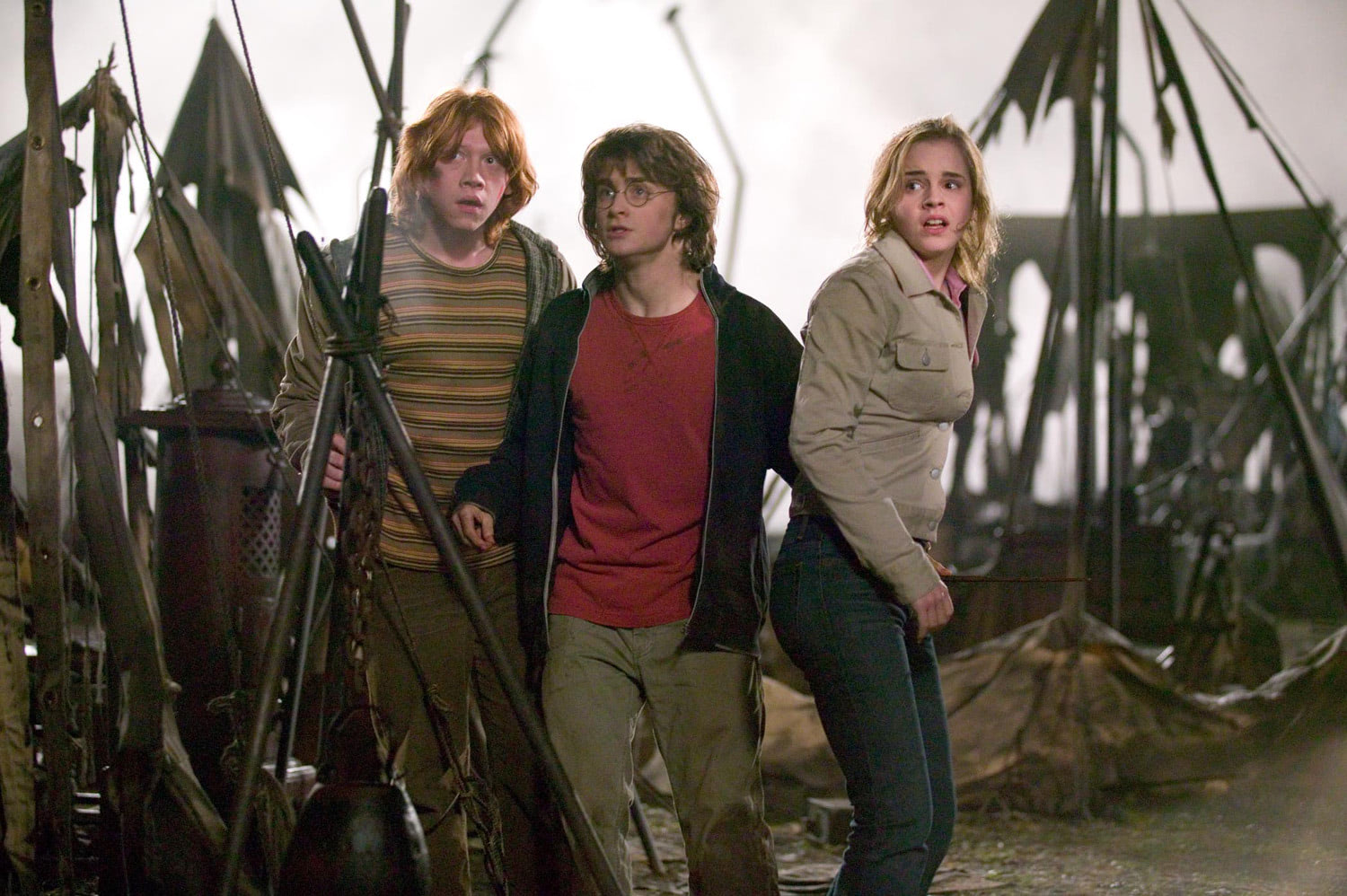 Harry, Ron and Hermione after the Quidditch World Cup