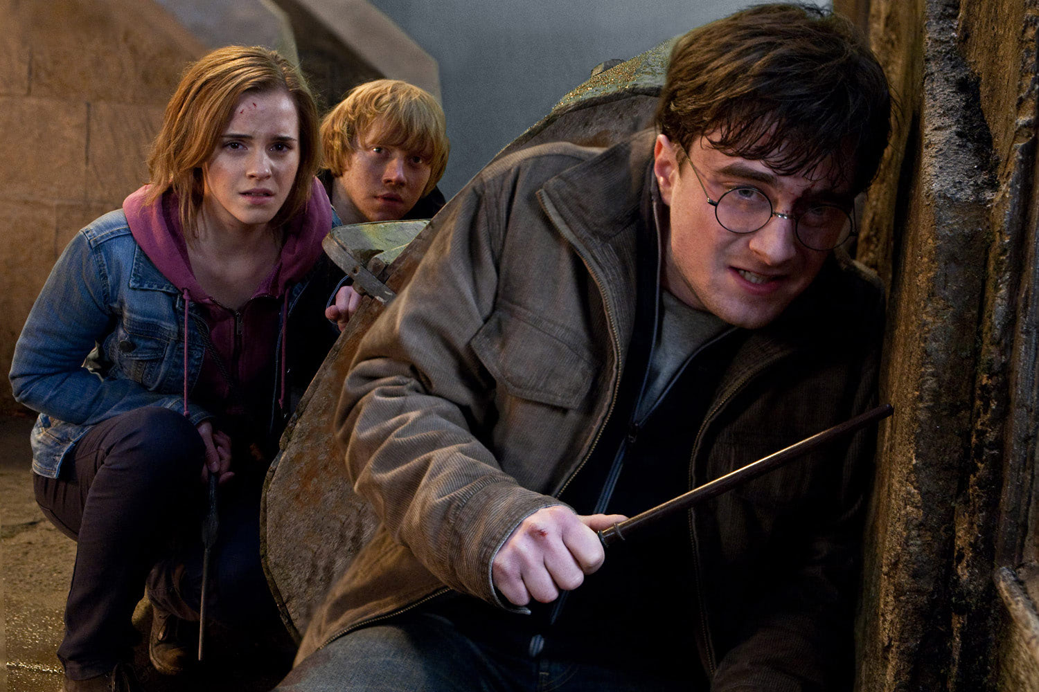 Harry, Ron and Hermione during battle