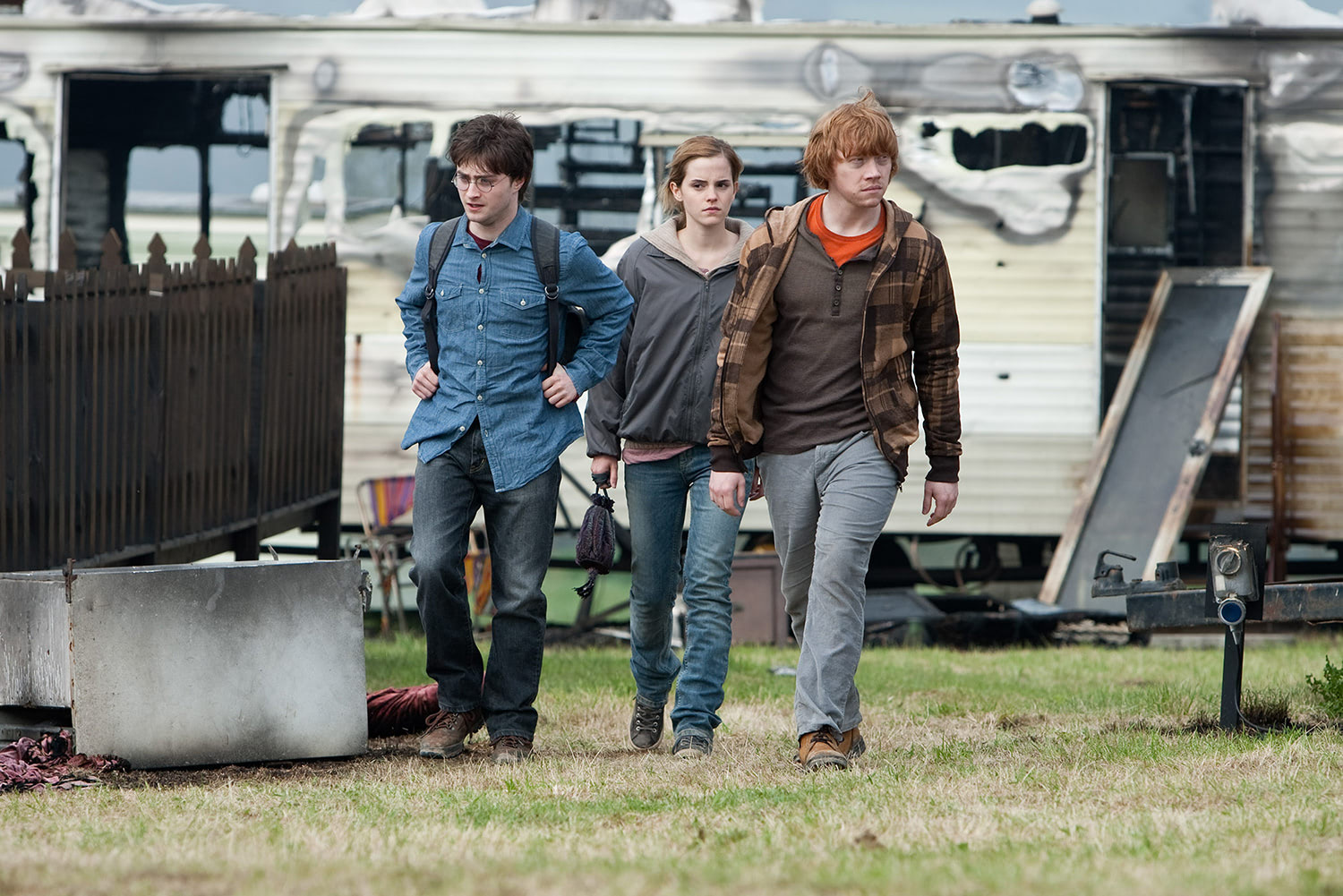 Harry, Ron and Hermione in one of the film's camping scenes